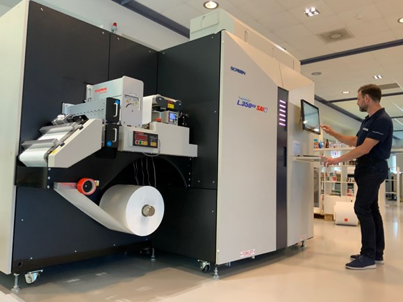 Screen's new Truepress Jet L350UV SAI processes PDFs with embedded CxF data and is able to separate them into up to six colours of CMYK+OB