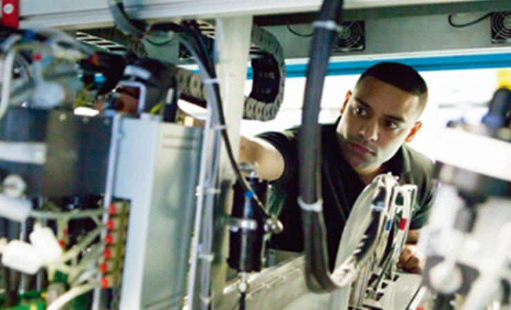 Edale engineer inside Graphium hybrid press