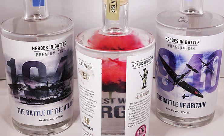 Heroes in Battle gin bottles